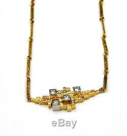 18 Karat Gold Necklace by Lapponia Björn Weckström c. Finland 1983 w 4 diamonds