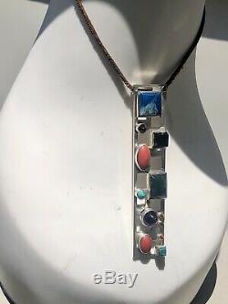 1950's Modernist Bent Knudsen Denmark Jewels & Sterling Silver Pendant Necklace