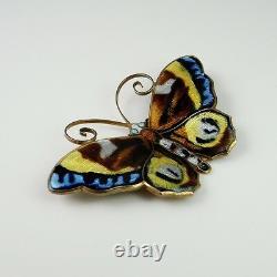 1950s Scandinavian Enamel Butterfly Pin Brooch Sterling Silver Mid Century 925