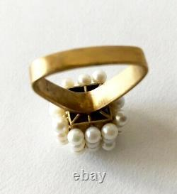 1960s Geometric Custom Scandinavian Modernist Pearl Silver Gold Vermeil Ring