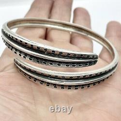 1960s Vintage David Andersen Sterling Silver Bangle Bracelet Viking Saga 40g
