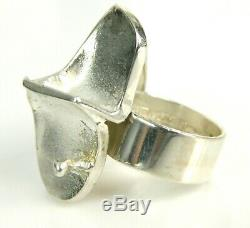 1971 Lapponia Bjorn Weckstrom Magma Finland Sterling Silver Modernist Ring 6.5