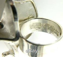 1971 Lapponia Bjorn Weckstrom Magma Finland Sterling Silver Modernist Ring 6.5