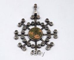 1972 Kultateollisuus Ky Finland Modernist 830 Silver Unakite Starburst Pendant