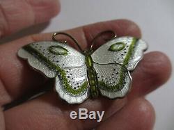 2 Vintage Hroar Prydz Norway Sterling Guilloche Enamel Butterfly Pin/brooch-nr