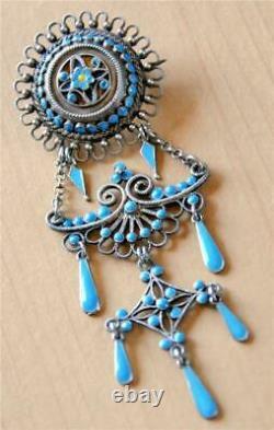 3.4 Marius Hammer Sterling Silver Blue Enamel Solje Wedding Brooch 930s Pin