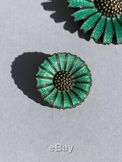 ANTON MICHELSEN Denmark Sterling Silver Teal Enameled Daisy Brooch Earrings Set
