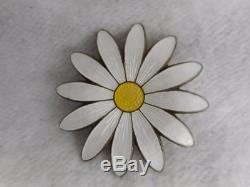 Aksel Holmsen Norway Gold Washed Sterling & White & Yellow Enamel 2 Daisy Pin