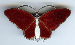 Aksel Holmsen Norway Vintage Sterling Red & White Enamel Butterfly Pin Brooch