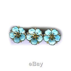 Aksel Holmsen Norway Vintage Sterling Shimmery Light Blue Enamel Flowers Pin