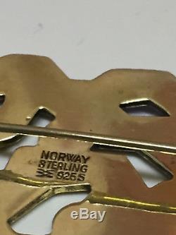 Aksel Holmsen Rare Brooch Sterling Silver Enamel Norway Norwegian
