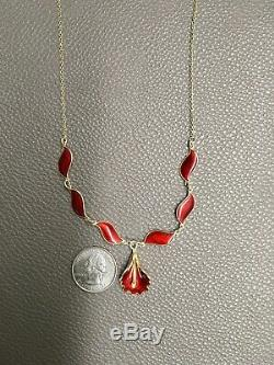Aksel Holmsen Rare Sterling Silver & Red Enamel Orchid Dangle Necklace 16.5