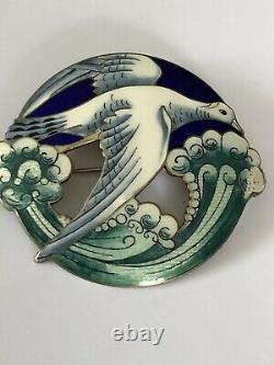 Aksel Holmsen Sterling Silver Enamel Rare Brooch Norway Norwegian
