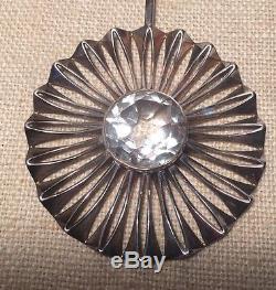 Alton Swedish Vintage Sterling Silver Modernist Large Clear Gem Necklace