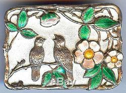 Andresen & Scheinpflug Norway Vintage Beauty Sterling Enamel Birds In Tree Pin