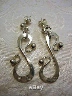 Anna Greta Eker AGE Norway Modernist Sterling Silver Earrings