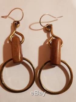 Anna Greta Eker Brass / wood Design earrings Norway