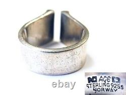 Anna Greta Eker Sterling Dot Open Top RING Plus Norway Machine AGE 1960s Rare