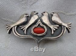 Antique Art Nouveau Signed Marius Hammer Norway Silver Doves Bird Coral Cab Pin