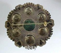 Antique Bunad 830 Silver & Malachite Brooch Norway. 69 Grams
