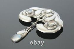 Antique Danish Art Nouveau Moonstone Silver Brooch S A J Jacobsen Evald Nielsen