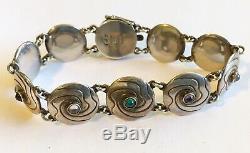 Antique Denmark St. Georg Jensen Bracelet, Green Agate, Amethyst, Rose Quartz