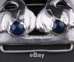 Antique Evald Nielsen Sterling Silver Belt Buckle, Lapis Lazuli. Extremely RARE
