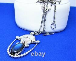 Antique Georg Jensen 830 Sterling Silver Black Blue Moonstone Pendant Necklace