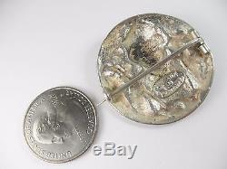 Antique Henrik Moller Trondheim 830 Silver Dragestil Repousse Brooch Pin NORWAY