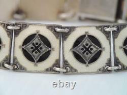 Antique MID Century Denmark Norway Sterling Silver & Guilloche Enamel Bracelet
