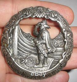 Antique Norwegian Silver 830S brooch Norway viking dragestil Nils Elvik