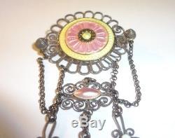 Antique Scandinavian Pink & Yellow Guilloche Sterling Silver Solje Brooch Pin