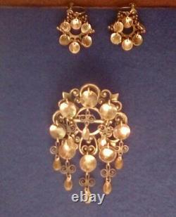 Antique Silver Elvik & Co. Norwegian Solje brooch & earrings 830S signed