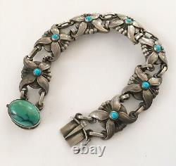 Antique Sterling Georg Jensen Bracelet With Turquoise #37