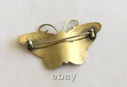 Antique Sterling Signed Hroar Prydz Multi Colored Enamel Butterfly Pin