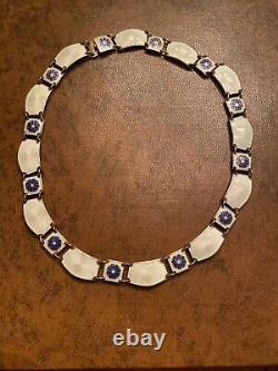 Antique Sterling Silver David Andersen Norway Enamel Necklace 16