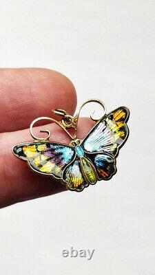 Antique Vintage David Andersen Norway Sterling Silver Enamel Butterfly Pendant