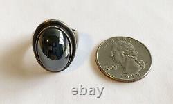 Antique Vintage Sterling Denmark Georg Jensen Ring With Hematite No 46A