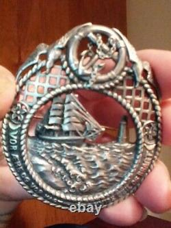 Antique Vintage Sterling Silver Norse Danish Nautical Brooch Sail Ship Anchor