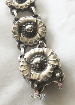 Antique Vtg George Jensen Sterling Silver #36 Bracelet Denmark Floral 1930's Exc