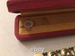 Anton Michelsen Denmark Sterling Silver Enamel Marguerite Daisy Bracelet In Box