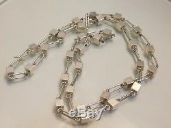Arne Johansen Modernist Box Necklace 925 Silver Denmark Modernist 29in