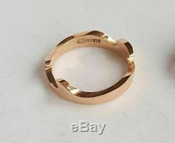 Authentic Georg Jensen Fusion Ring 18k Yellow Rose & White Gold w Diamond