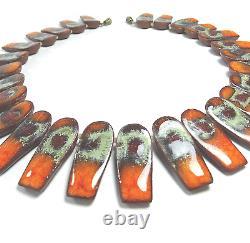 Beautiful Danish Enameled Ceramic Necklace Brøndsted Denmark vintage 1960s