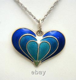 Beautiful VTG David Andersen Sterling Enamel Blue Heart Pendant Necklace Norway