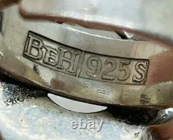 Beicher Heilesen BeH Denmark Vintage Sterling Silver Rock Crystal Modernist Ring