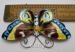 Big David Andersen Norway Vintage Sterling Silver Enamel Butterfly Pin / Brooch