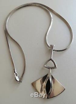 Bjorn Sigurd Ostern David Andersen Norway 925 Silver Enamel Modernist Pendant