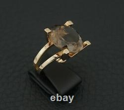 C. F Heise 14K Gold Ring with Smoky Quartz Made in Denmark 1969 A1267