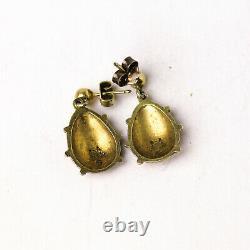 Cute Vintage David Andersen Sterling Silver & Enamel Ladybug Earrings